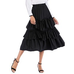 Mid-Calf Plain Pleated Women's Skirt