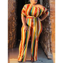 Plus Size Casual Stripe Full Length High Waist Women's Jumpsuit
