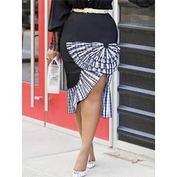 A-Line Patchwork Plaid Zipper Women's Skirt