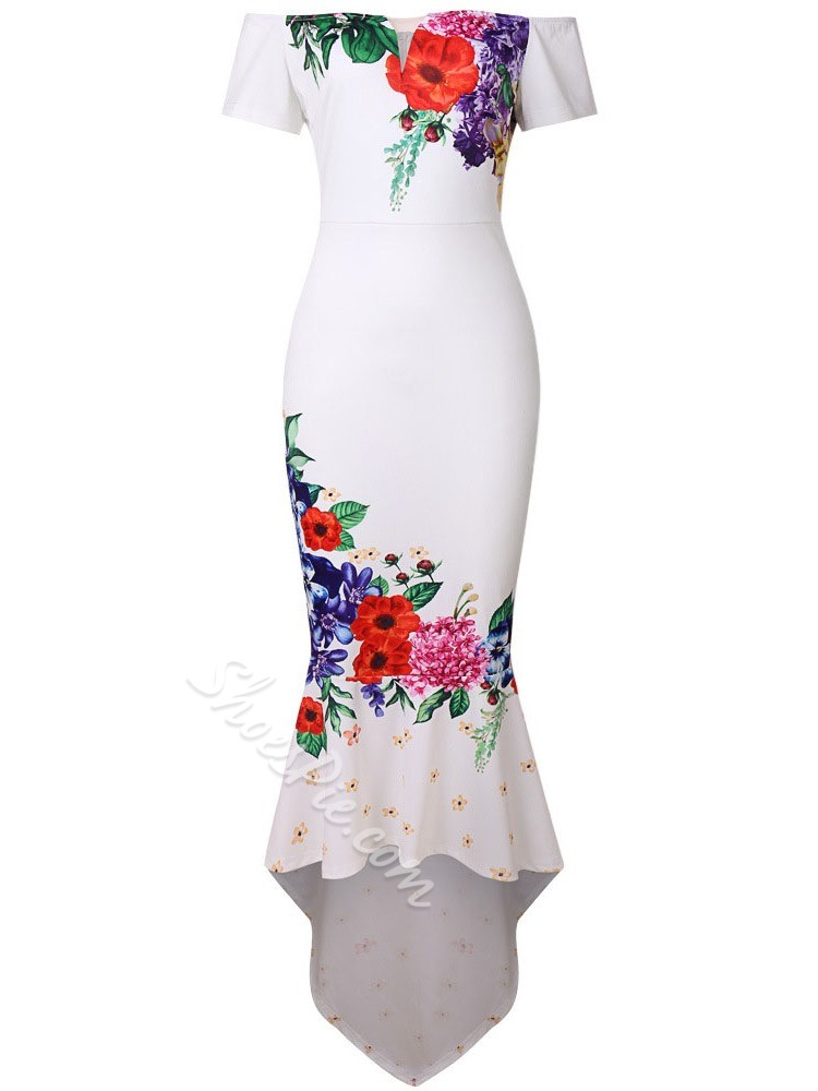 Print Short Sleeve Floor-Length Off Shoulder Women's Dress