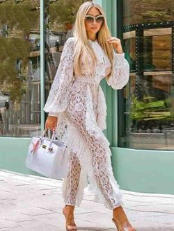 Plain Ankle Length See-Through Skinny Women's Jumpsuit