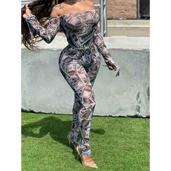 Off Shoulder Print Full Length Sexy Slim Women's Jumpsuit