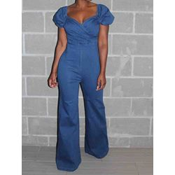 Sweet Plain Full Length Wide Legs Women's Jumpsuit