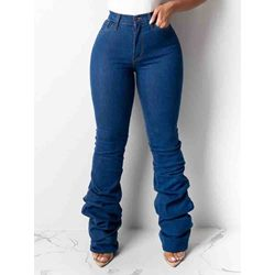 Full Length Pleated Plain Slim Women's Jeans