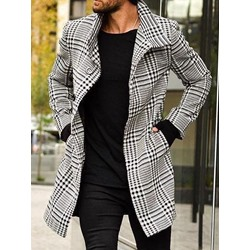 Plaid Long Pocket Fall A Line Coat