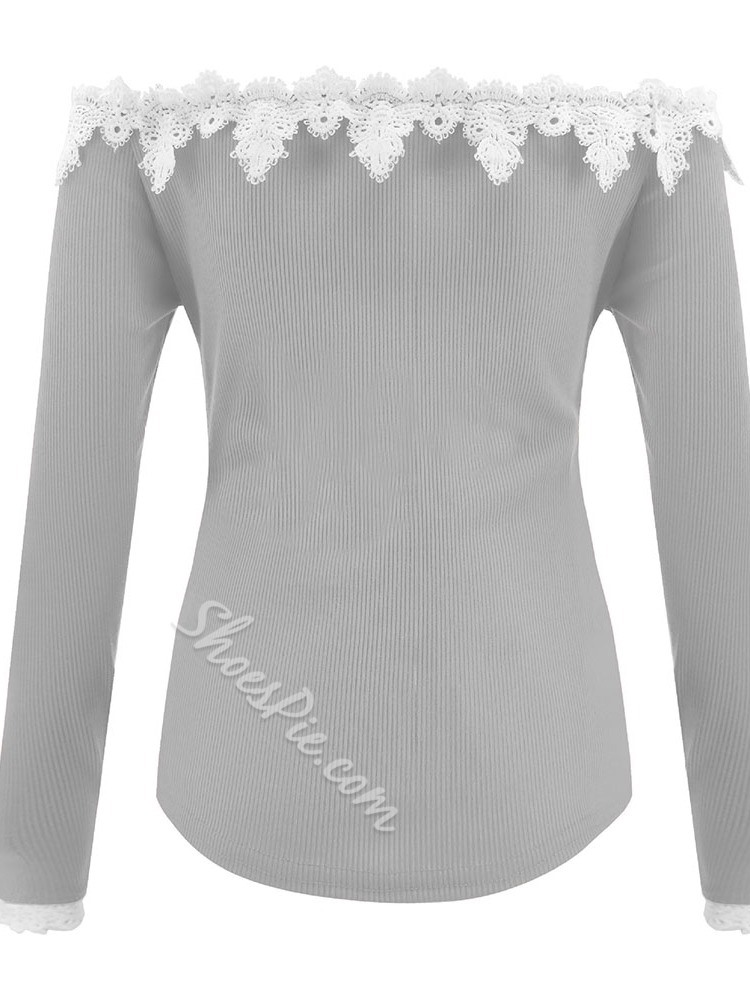 Regular Patchwork Off Shoulder Women's Sweater