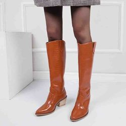 Shoespie Stylish Slip-On Plain Chunky Heel Casual Boots