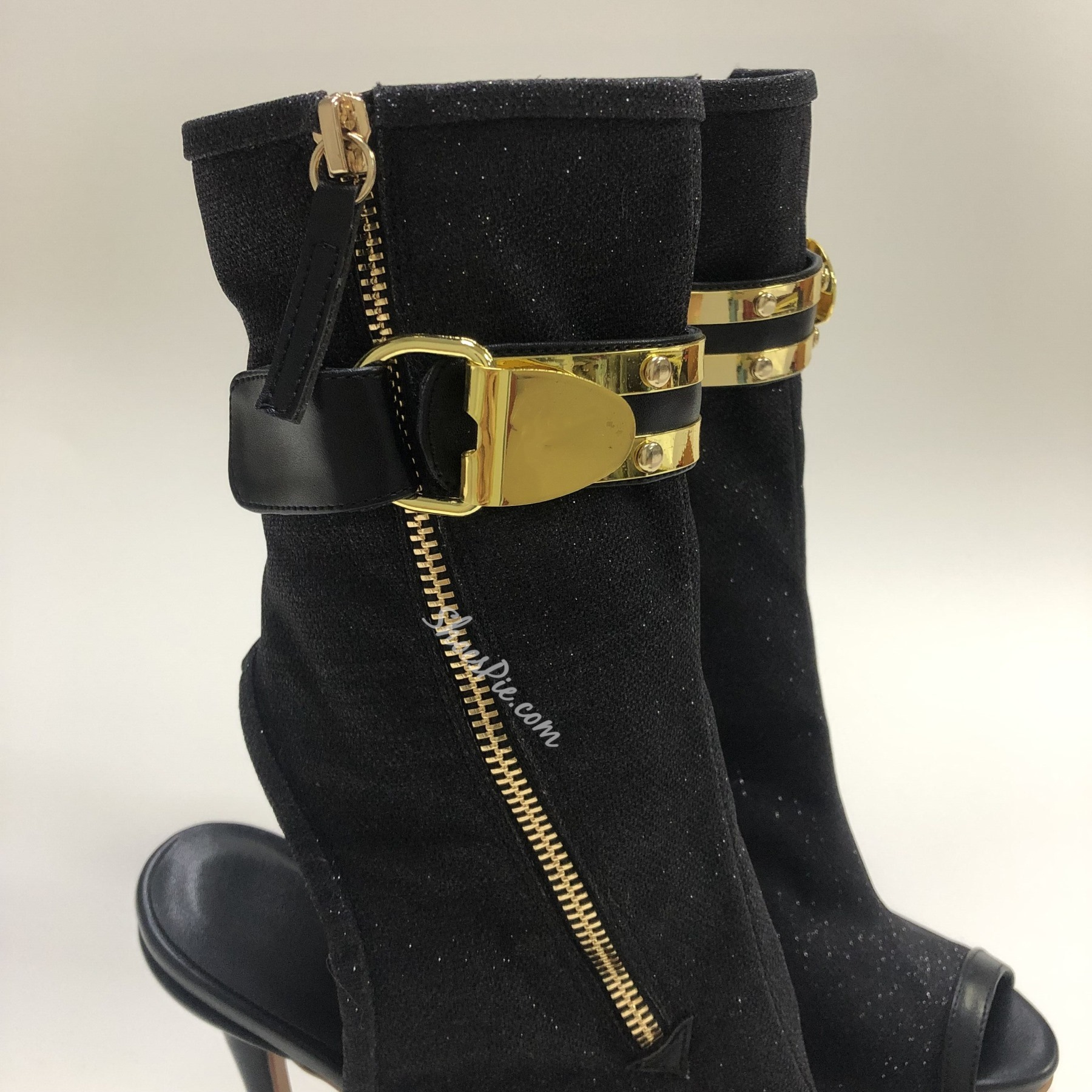Shoespie Peep Toe Stiletto Heel Zipper Ankle Boots