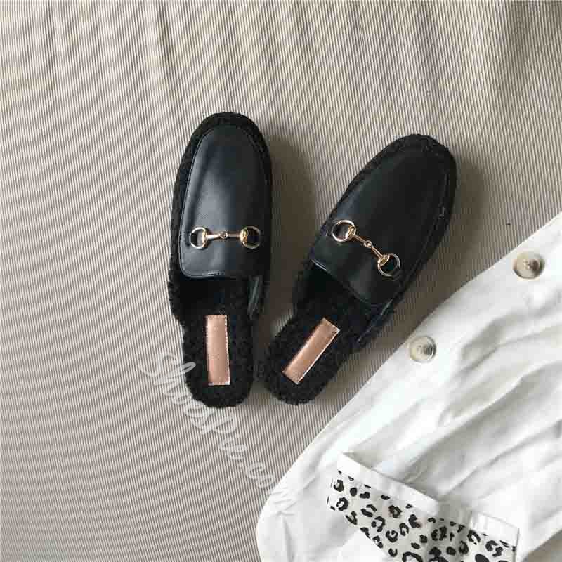Shoespie Stylish Block Heel Slip-On Closed Toe Winter Slippers