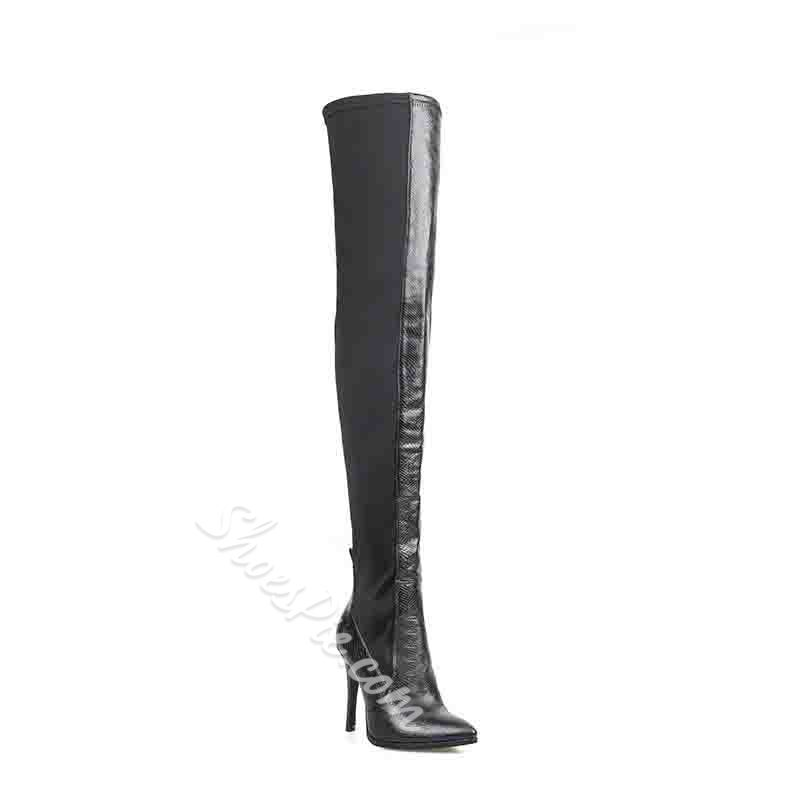 Shoespie Sexy Pointed Toe Side Zipper Plain Zipper Boots