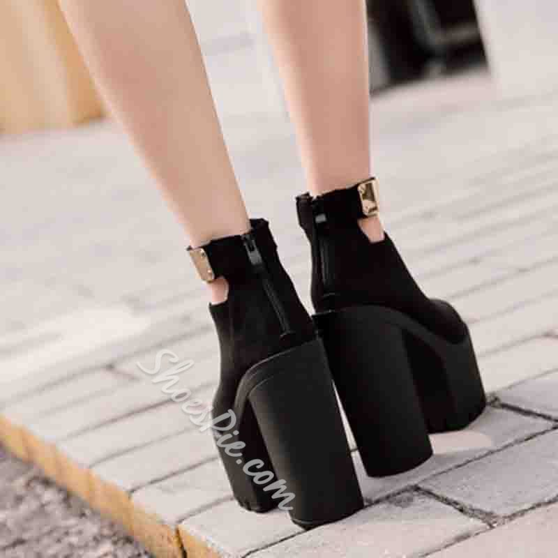 Shoespie Trendy Thread Round Toe Chunky Heel Patchwork Thin Shoes