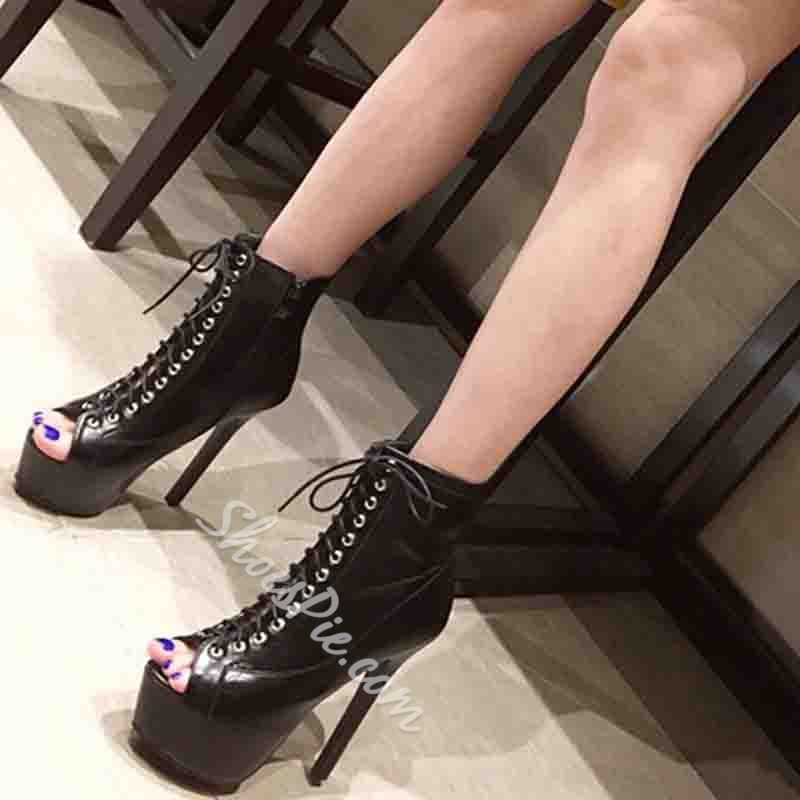 Shoespie Trendy Zipper Thread Peep Toe Ultra-High Heel Thin Shoes