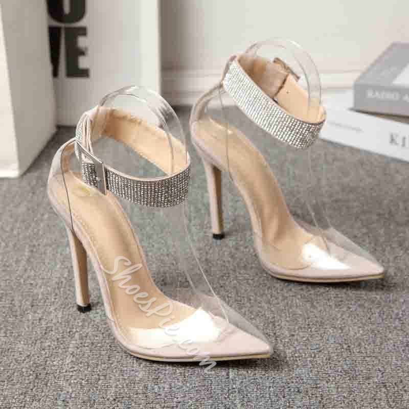 Shoespie Trendy Rhinestone Pointed Toe Buckle Sweet Thin Shoes