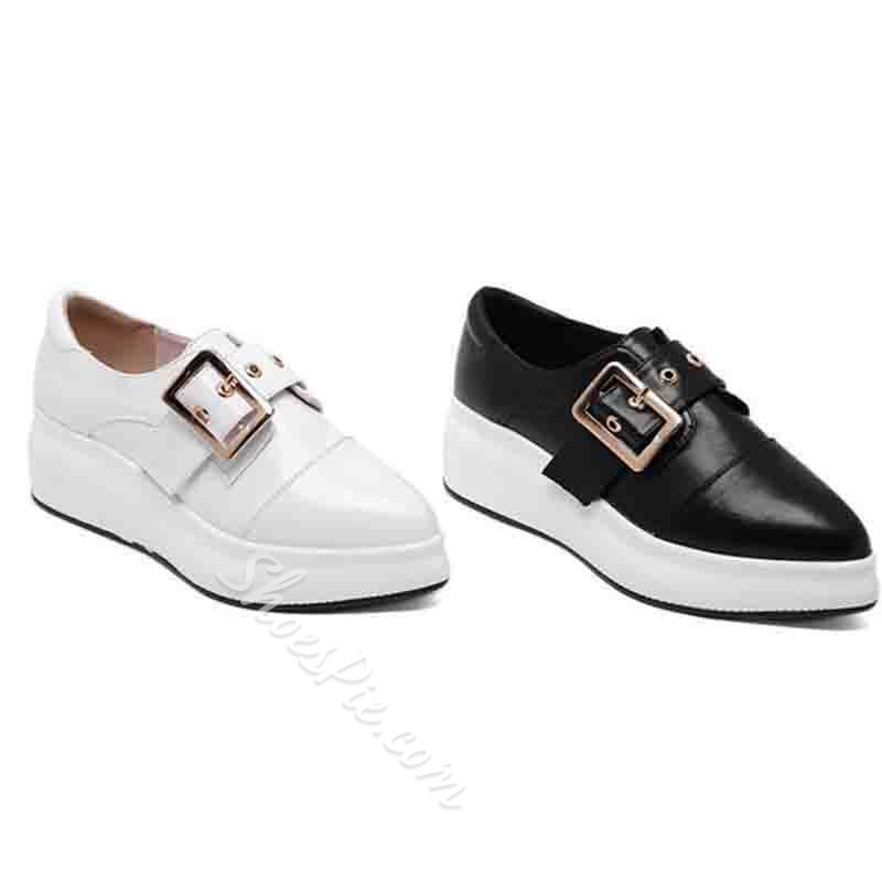 Shoespie Stylish Pointed Toe Buckle Platform Casual Thin Shoes