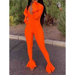Plain Full Length Skinny Falbala Women's Jumpsuit