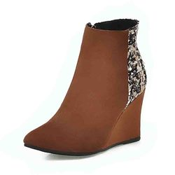 Shoespie Stylish Pointed Toe Color Block Wedge Heel Casual Boots