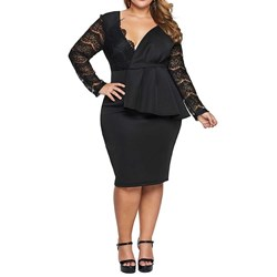 Plus Size Lace Knee-Length Long Sleeve Party/Cocktail Women's Dress