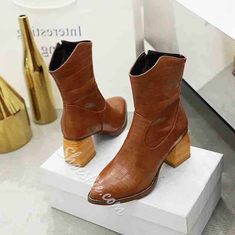 Shoespie Sexy Chunky Heel Serpentine Pointed Toe Side Zipper Boots