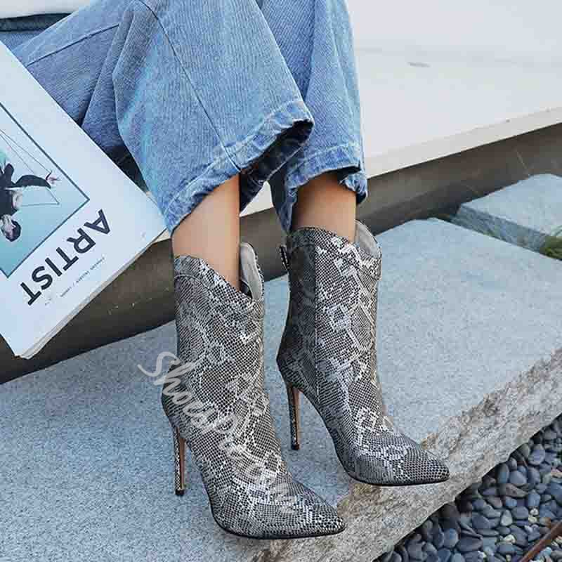 Shoespie Stylish Color Block Stiletto Heel Slip-On Casual Boots