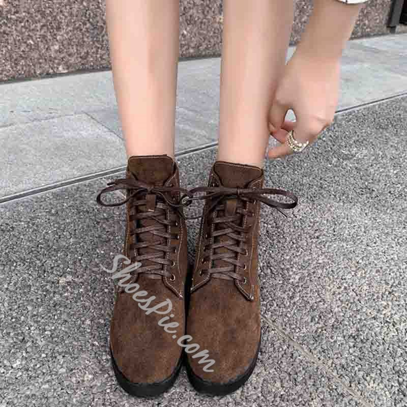 Shoespie Block Heel Round Toe Plain Casual Boots