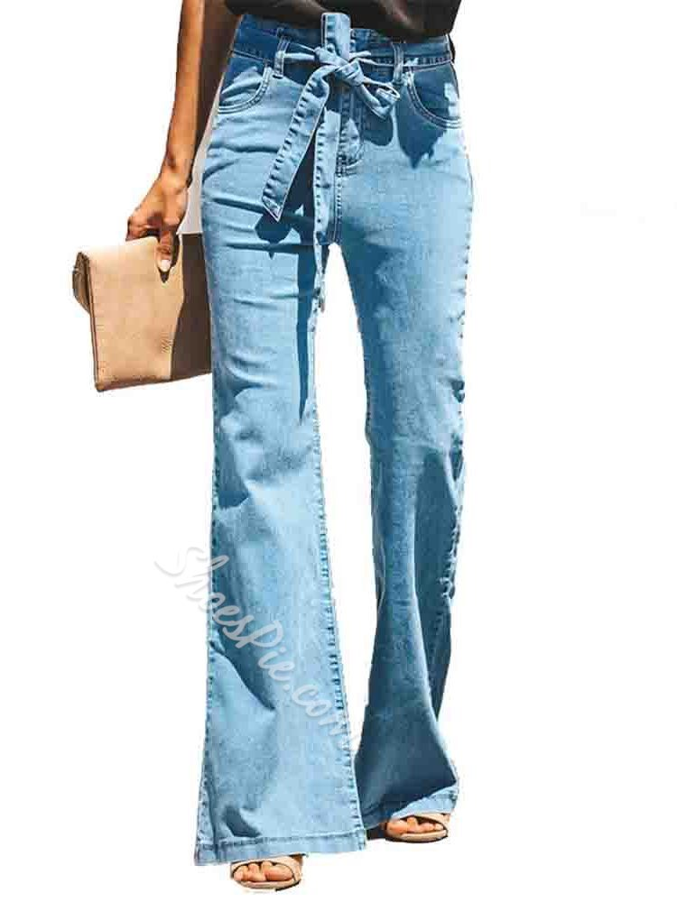 Lace-Up Bellbottoms Slim Women's Jeans