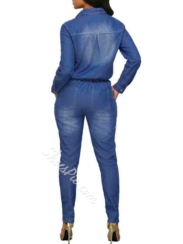 Full Length Fashion Button Women's Jumpsuit