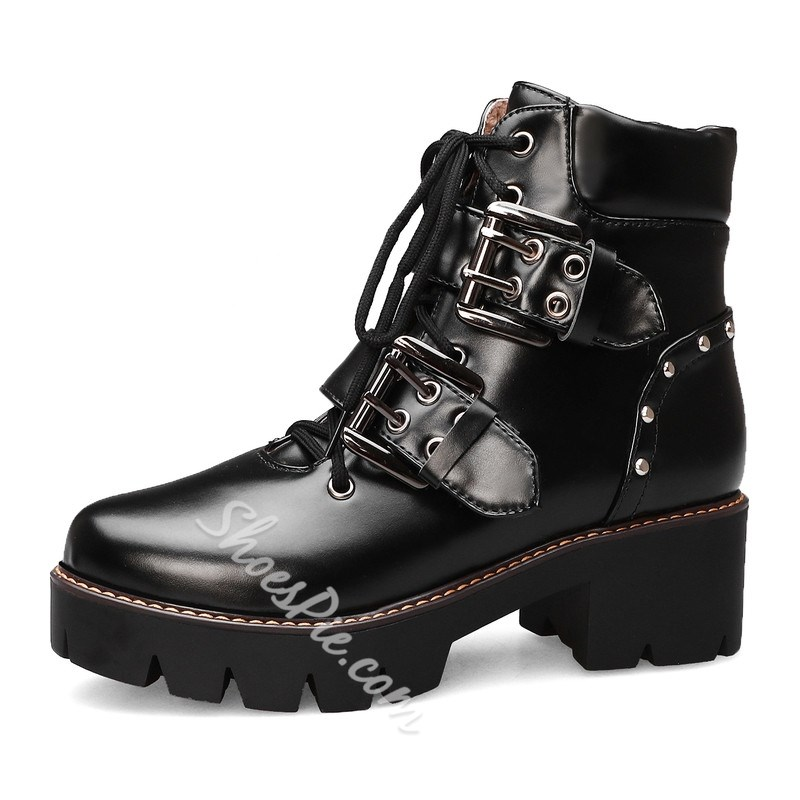 Shoespie Stylish Color Block Round Toe Lace-Up Front Casual Boots