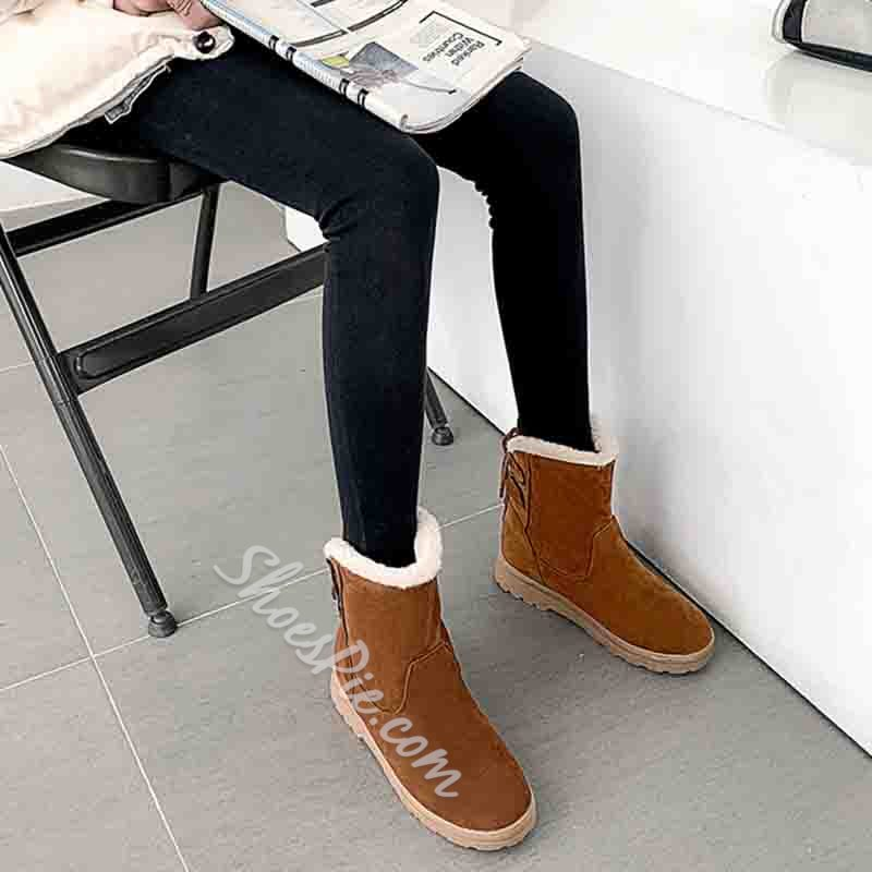 Shoespie Sexy Lace-Up Back Round Toe Patchwork Thread Boots