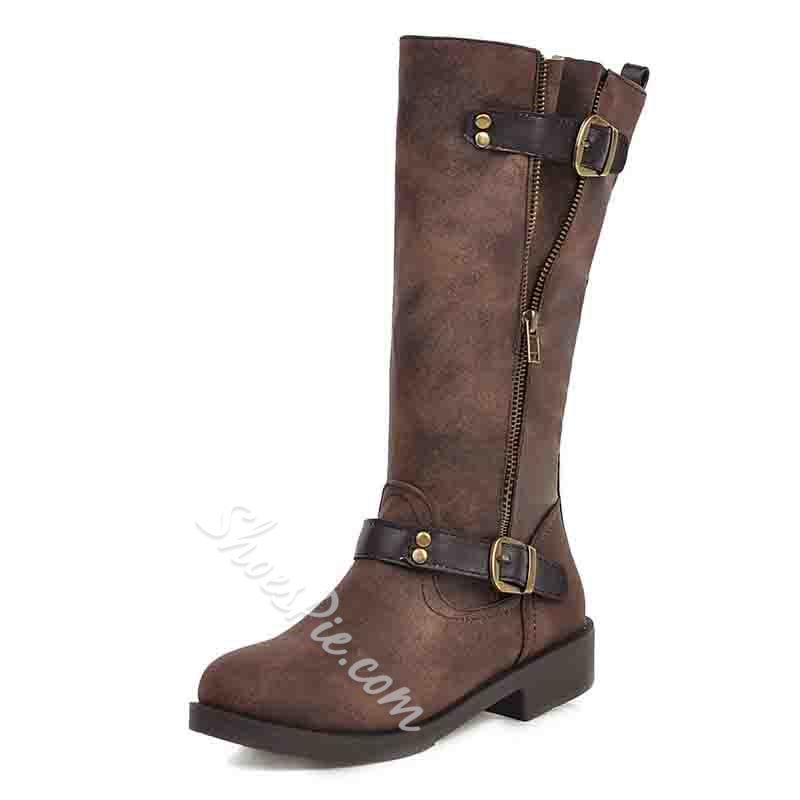 Shoespie Sexy Side Zipper Patchwork Round Toe Casual Boots