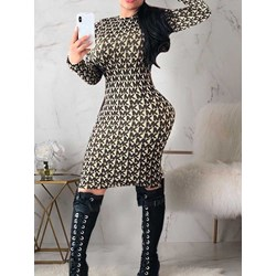 Print Knee-Length Round Neck Pullover Women's Dress