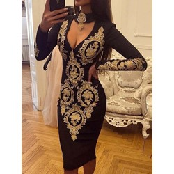 Print Long Sleeve Mid-Calf Sexy Women's Dress