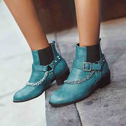 Shoespie Sexy Color Block Slip-On Round Toe Casual Boots