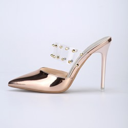Shoespie Clear Rivet Stiletto Heel Mules