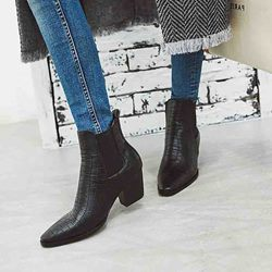 Shoespie Sexy Chunky Heel Patchwork Pointed Toe Thread Boots