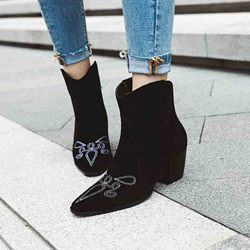 Shoespie Sexy Chunky Heel Color Block Slip-On Thread Boots