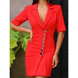 Above Knee Notched Lapel Short Sleeve Summer Women's Dress