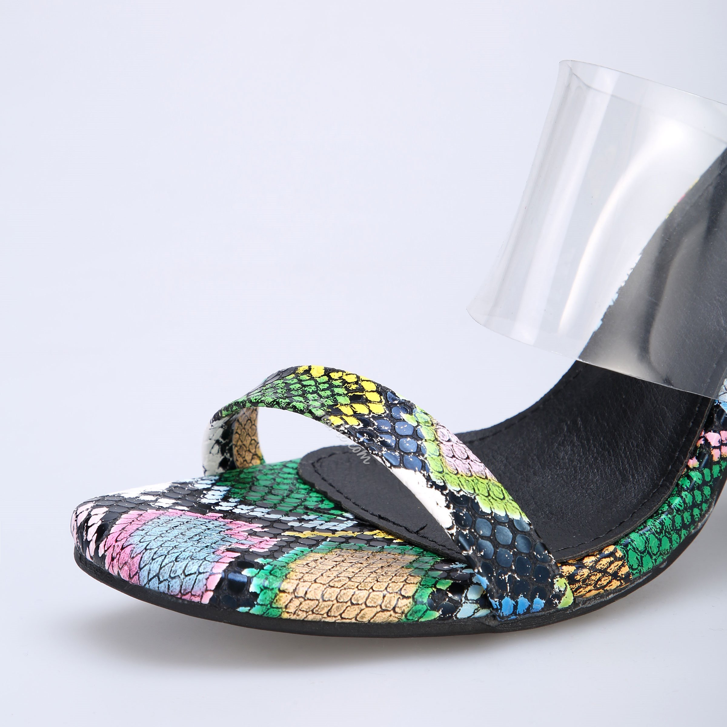 Shoespie Sexy Chunky Heel Clear Color Block Slippers