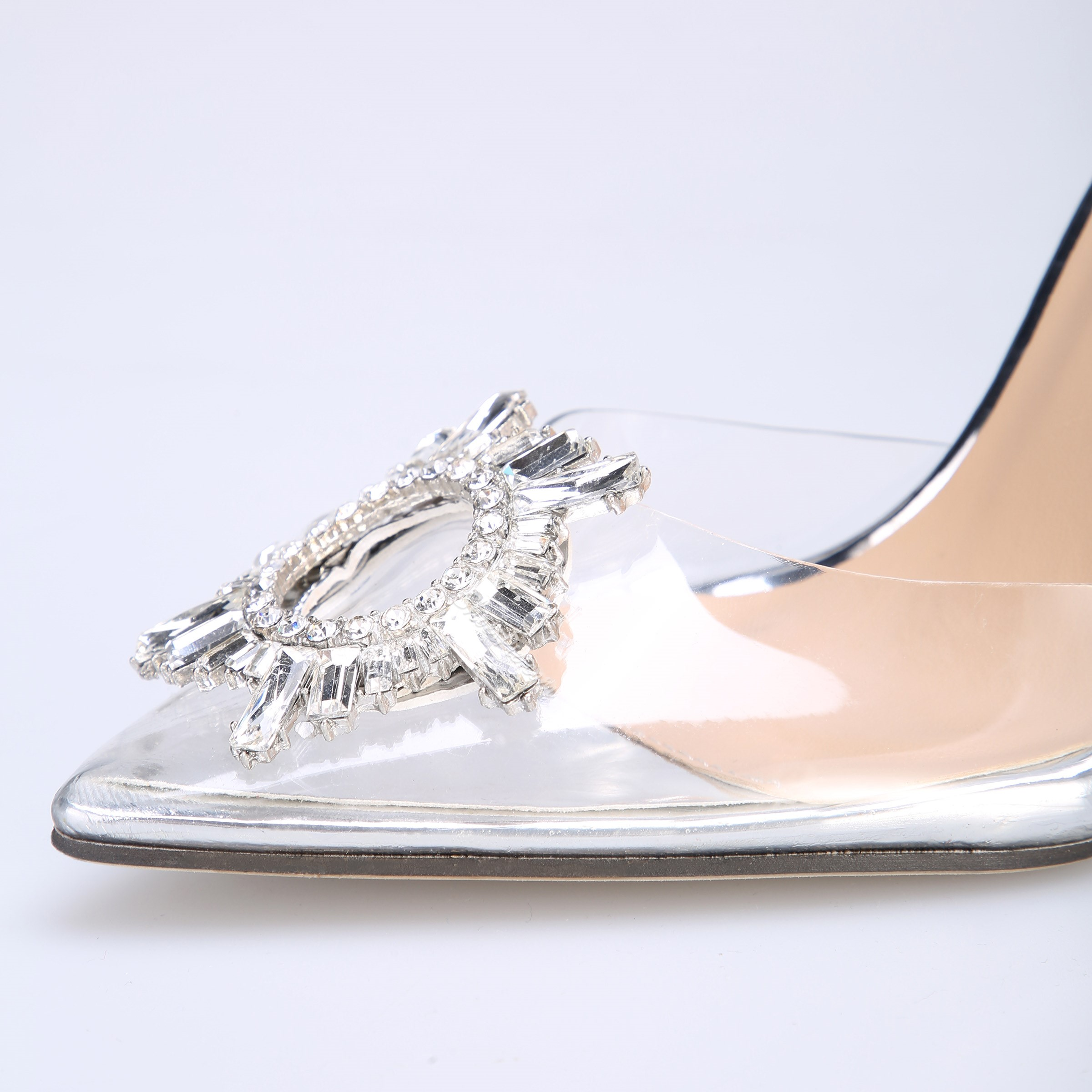 Shoespie Rhinestone Jelly Stiletto Heel Pointed Toe Sandals