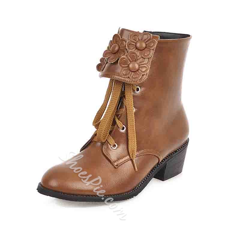 Shoespie Trendy Side Zipper Patchwork Round Toe Lace-Up Boots