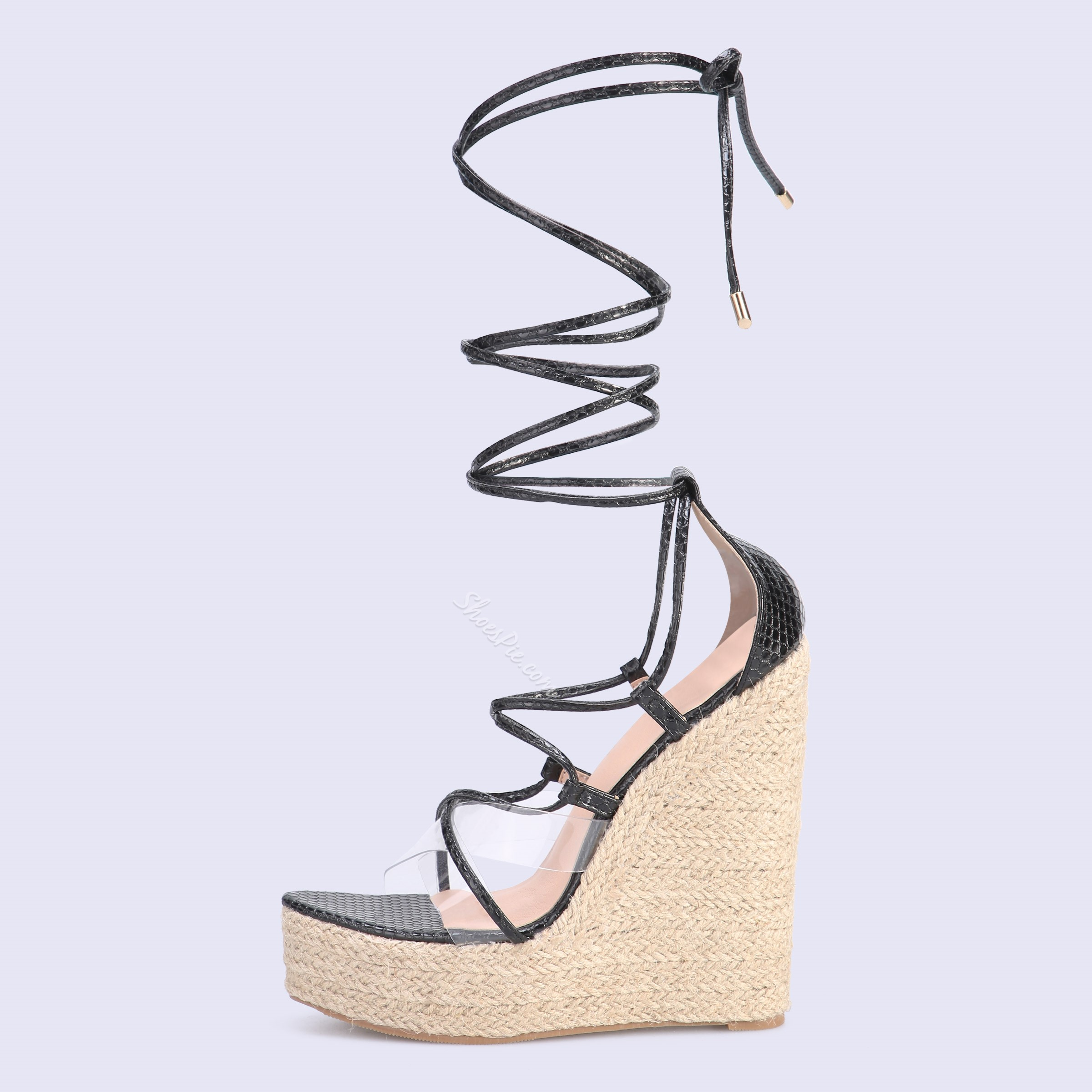 Shoespie Sexy Wedge Heel Lace-Up Heel Covering Western Sandals