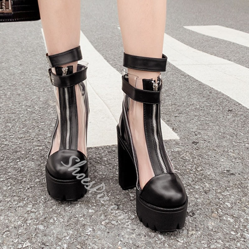 Shoespie Trendy Round Toe Chunky Heel Front Zipper Casual Boots