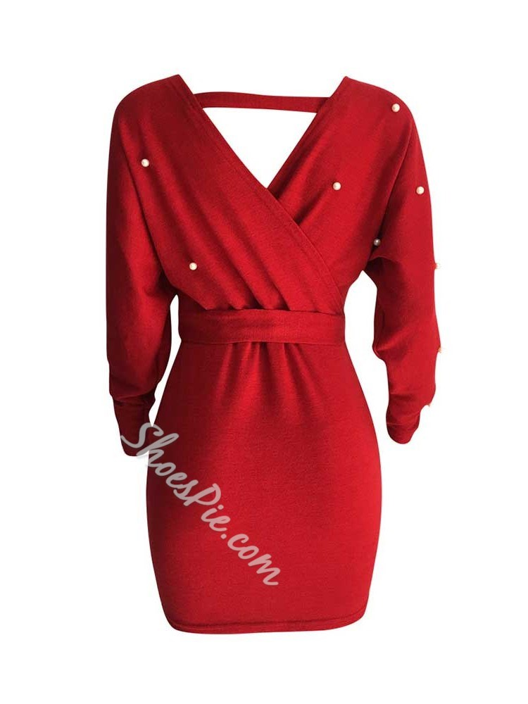 Long Sleeve Backless Above Knee Women's Dress