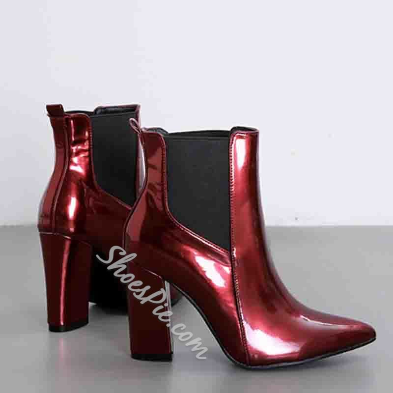 Shoespie Trendy Side Zipper Patchwork Pointed Toe Western Boots