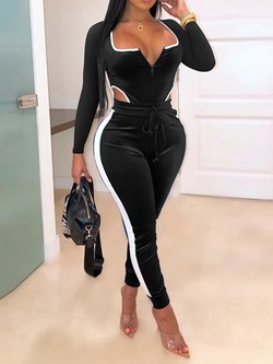 Color Block Ankle Length Sexy Skinny Women's Jumpsuit