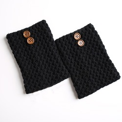 Knitted Solid Color Button Winter Short Leg Warmer