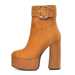 Shoespie Stylish SuedePlain Side Zipper Chunky Heel Western Boots
