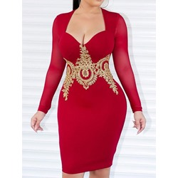 Sexy V-Neck Patchwork Long Sleeve Pullover Women's Dress
