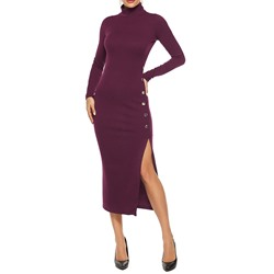 Mid-Calf Button Long Sleeve Bodycon Women's Dress