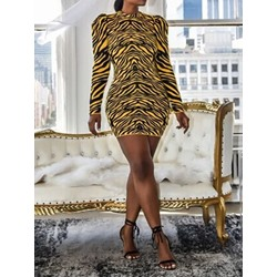 Print Stand Collar Long Sleeve Bodycon Women's Dress