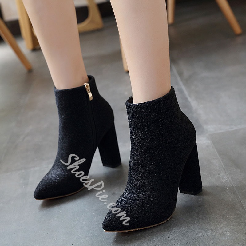 Shoespie Stylish Side Zipper Plain Pointed Toe Boots